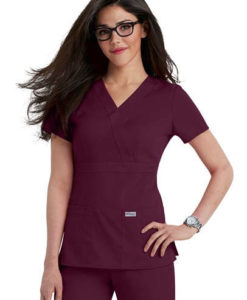 4153 - Greys Anatomy 3-pocket mock-wrap scrub top