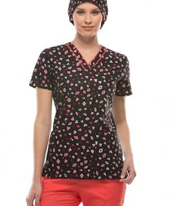 sku 84724WA Dickies EDS Whats Your Angle print scrub top