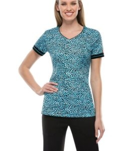 sku 1403 Dickies V-Neck Print Top Scrub Top