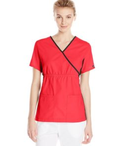 sku 1706 Cherokee Women's Mock Wrap Knit Panel Top