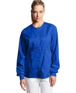 sku 1702 Cherokee Women's Scrubs Luxe Snap Front Warm Up Jacket