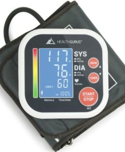 sku 1713 Health Gurus Professional Upper Arm Blood Pressure Monitor with Easy-to-Read Backlit LCD, One-Size-Fits-All Cuff and Nylon Storage Case by Greater Goods
