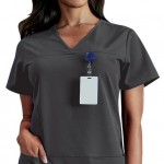sku 1707 Jockey Comfort Ladies 4 Pocket Shaped V-Neck Scrub Top with Bungee Cord